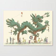 The Night Gardener - Dragon Topiary  Canvas Print
