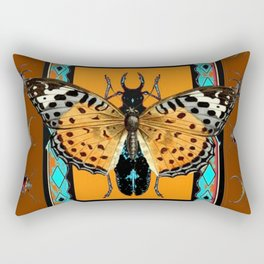 WESTERN COFFEE BROWN-TURQUOISE  BUTTERFLY & BEETLES ART Rectangular Pillow