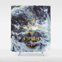 sailor Shower Curtains featuring Sailor by Alicia Bock