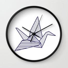 Swan, navy lines Wall Clock