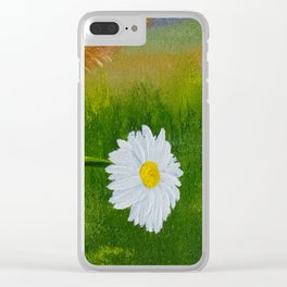 Ruthie with a daisy for Aunt Marsha Clear iPhone Case
