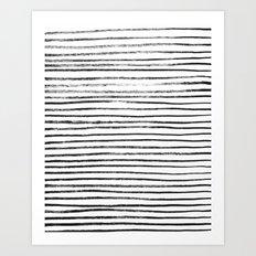 Black Brush Lines on White Art Print