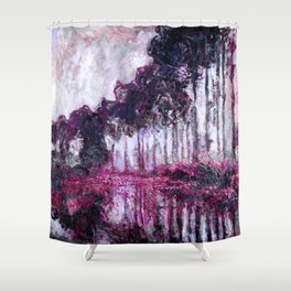 Monet Poplars on the Banks of the River Epte Purple Magenta Shower Curtain