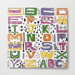 super silly abc alphabet letters Metal Print
