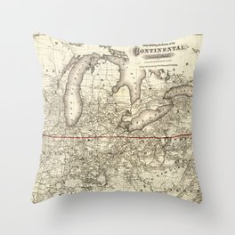 Map of the Continental Railroad Route (1873) Throw Pillow