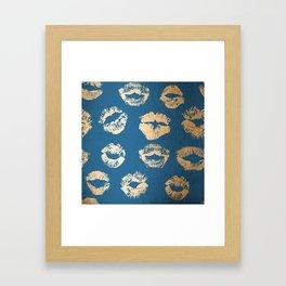 Metallic Gold Lips in Orange Sherbet and Saltwater Taffy Teal Shimmer Framed Art Print