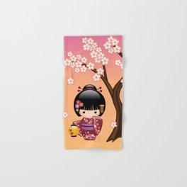 Japanese Sakura Kokeshi Doll Hand & Bath Towel