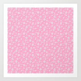 Festive Sweet Lilac Pink and White Christmas Holiday Snowflakes Art Print