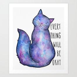 Blue Galaxy Cat Art Print