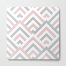 Pink + Gray | Brentwood Abstract Art Metal Print