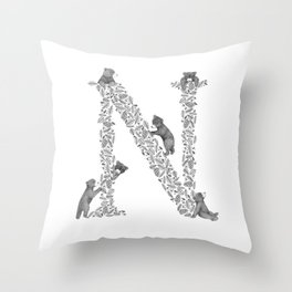 Bearfabet Letter N Throw Pillow