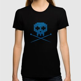 Knitted Skull / Knitting with Attitude (Black on Blue) T-shirt