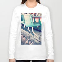 shabby chic Long Sleeve T-shirts featuring Retro Diner Photograph, kitchen art, restaurant decor, shabby chic, vintage, pastels, mint and pink by Scarlett Ella
