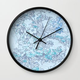"""Alphonse Mucha """"Anemones, Apple Blossoms and Narcissi"""" (edited blue) Wall Clock"""