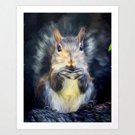 Cute Squirrel with Acorn Art Print