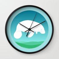 manatee Wall Clocks featuring Manatee by tuditees