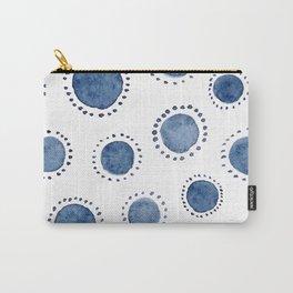 Beautiful Modern Home White & Indigo Polka Dot Pattern Carry-All Pouch