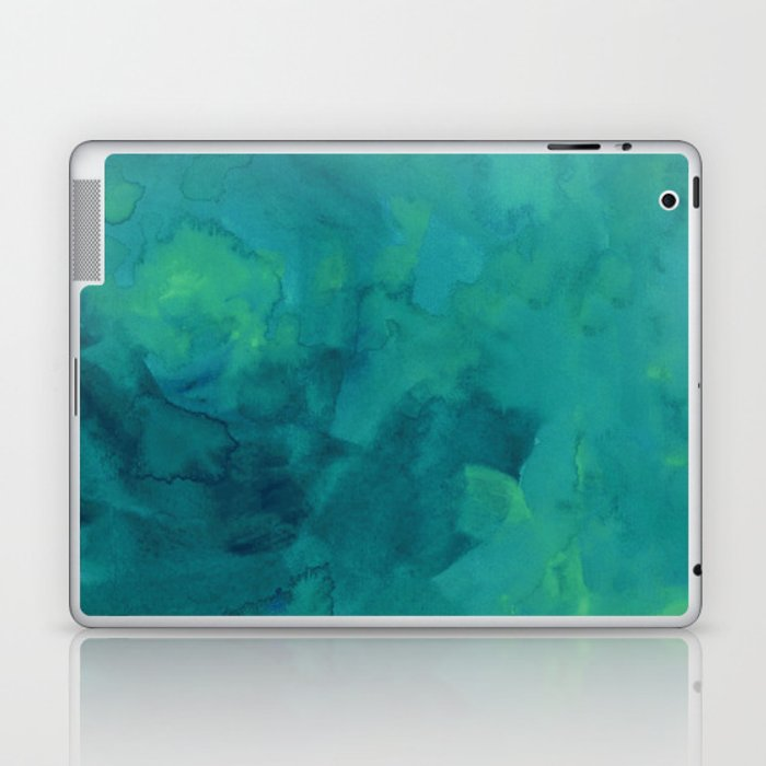 Watercolor green and blue Laptop & iPad Skin