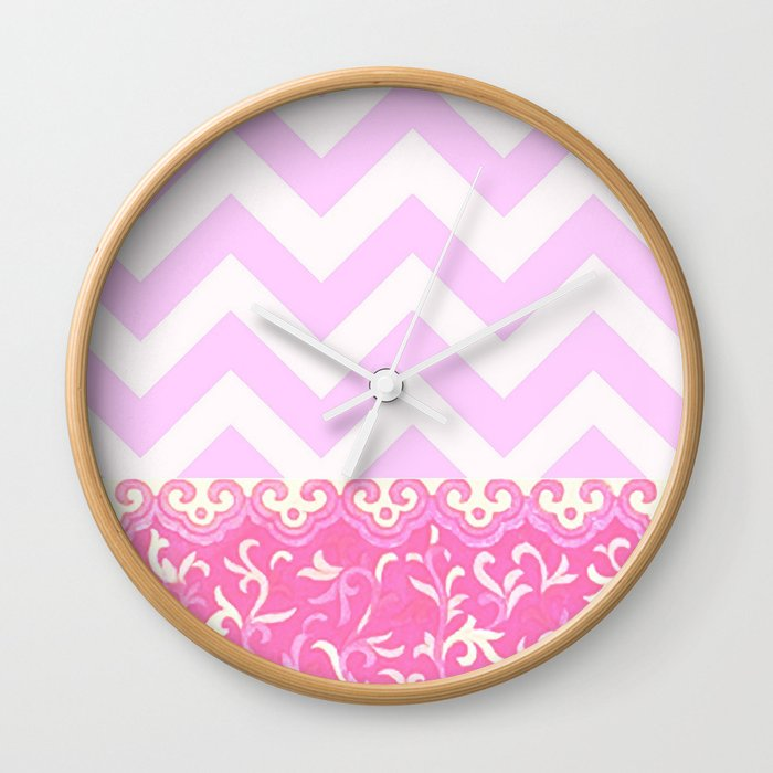chevron and frieze Wall Clock
