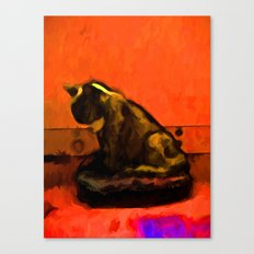 Cat and an Orange Wall Canvas Print