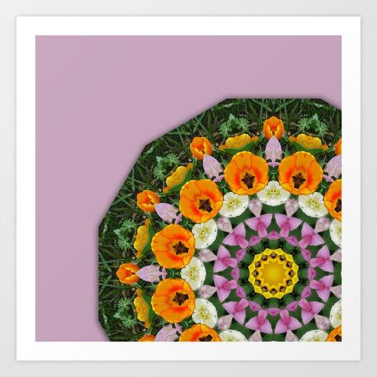 Tulips Nature, Flower-Mandala Art Print