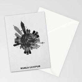 Kuala Lumpur, Malaysia Black and White Skyround / Skyline Watercolor Painting Stationery Cards