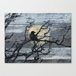 Rustic Crow Blue Grey Wood Type Cottage Chic Country Decor Barn Art A015 Canvas Print