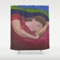 sleep Shower Curtains featuring Sleep  by Camille's Images