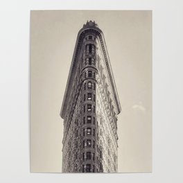 Flatiron Building, original New York photography, skyscrapers, wall decoration, home decor, nyc b&w Poster