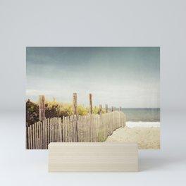 Beach Fence Photography, Blue Brown Coastal Photo, Seashore Dune Sand, Ocean Seaside Mini Art Print