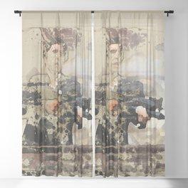 Tony Montana paint art Sheer Curtain