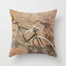 vintage bicycle hipster Throw Pillow