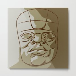 Olmeca Head Metal Print
