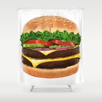 burger Shower Curtains featuring Burger by Connor Driest