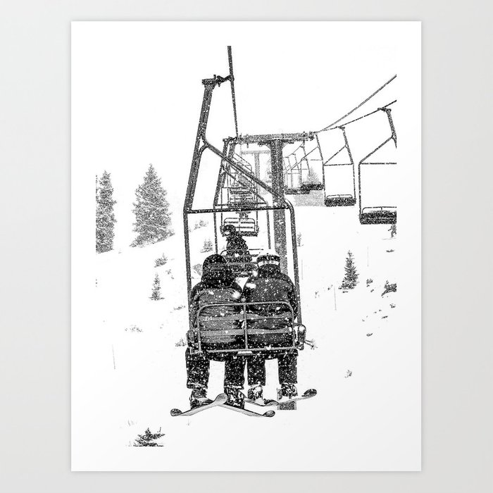 Snow Lift // Ski Chair Lift Colorado Mountains Black and White Snowboarding Vibes Photography Kunstdrucke