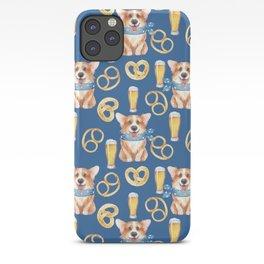 Majesty Pembroke - Happy Corgis On Octoberfest Bavaria Germany - Bavarian Blue iPhone Case