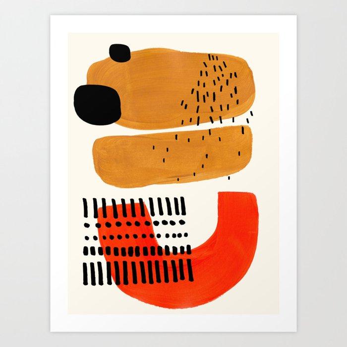 Mid Century Modern Abstract Minimalist Retro Vintage Style Fun Playful Ochre Yellow Ochre Orange  Kunstdrucke