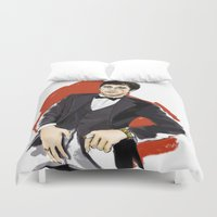 tony stark Duvet Covers featuring Tony by Myrtle Quillamor
