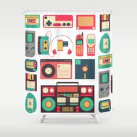 technology Shower Curtains featuring Retro Technology 1.0 by Ralph Cifra