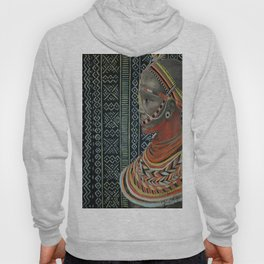 The Red Beads/mud cloth background Hoody