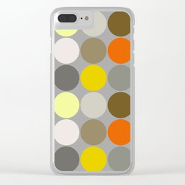 Mid-Century Giant Dots, Gray, Gold and Orange Clear iPhone Case
