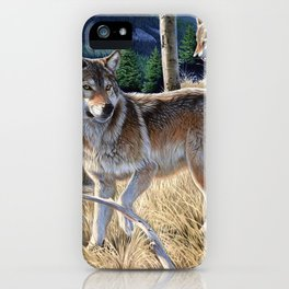 Wolf in winter forest iPhone Case