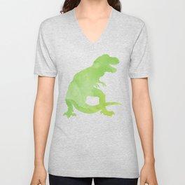 Watercolor Dinosaur Pattern White Green Blue Unisex V-Neck