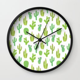 Colorful cactus desert illustration pattern. Green cactuses on white. Wall Clock