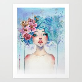 Blue Hair Art Print