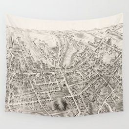 Vintage Pictorial Map of Marlborough MA (1878) Wall Tapestry