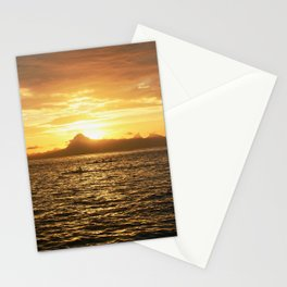 Tahiti Sunset with Kayakers over Water Stationery Cards