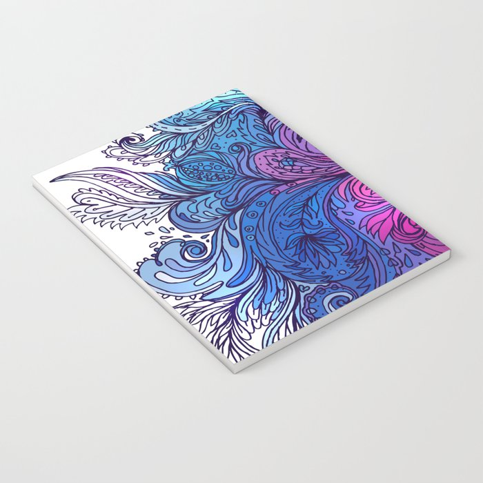 Blue Floral Indian Pattern Notebook