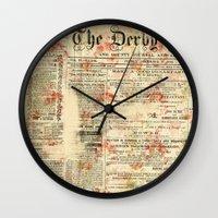 newspaper Wall Clocks featuring Vintage newspaper grunge by MJ'designs - Marosée Créations