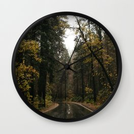 Fall Road Trip Through A Forest Wall Clock